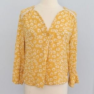 Collective Concepts Mustard Floral Lace Detail Top